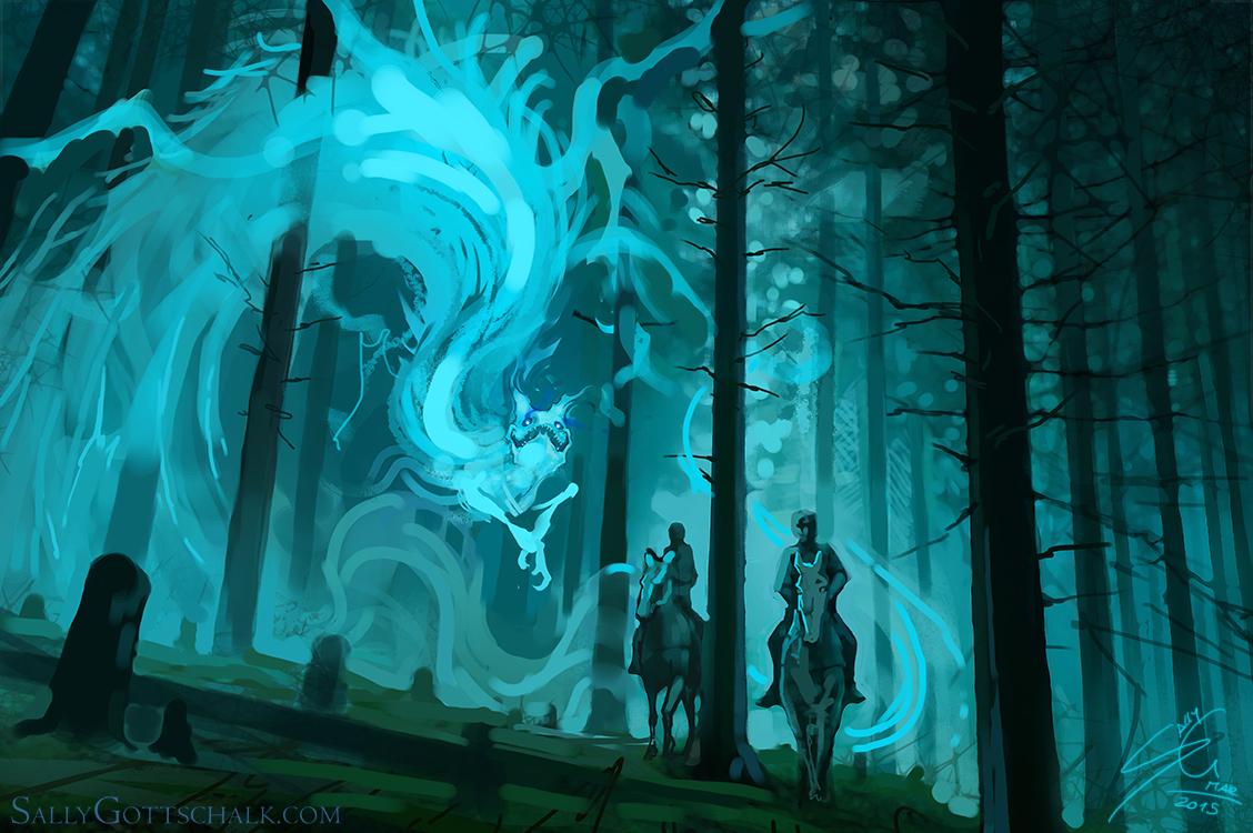 Fog Fantasy Creature Illustration by Sally Gottschalk