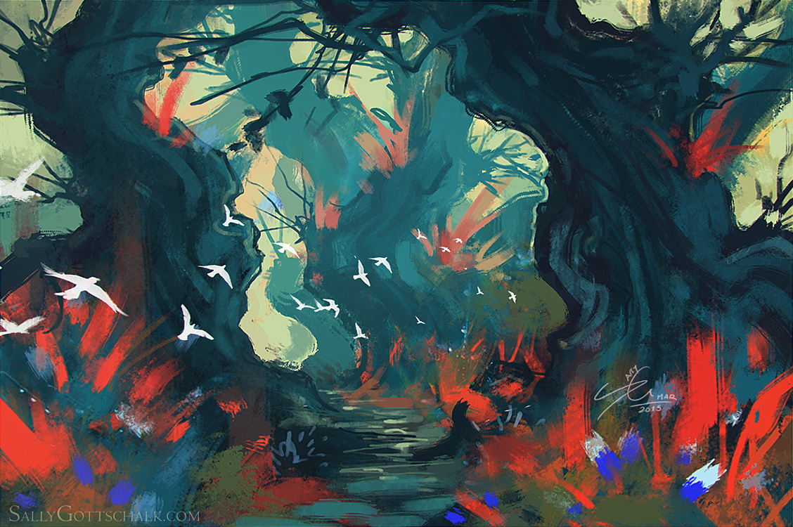 Forest Landscape Concept Art by Sally Gottschalk