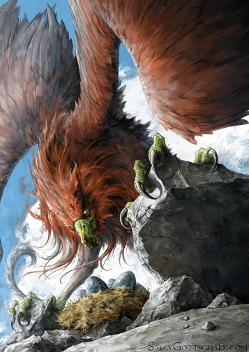 griffin creature illustration by sally gottschalk