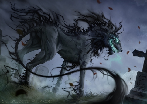 Grim Hound Creature Illustration by Sally Gottschalk