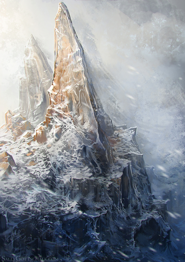 Mountain Fantasy Landscape Illustration by Sally Gottschalk