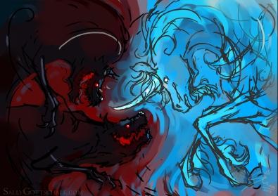 unicorn & hound creature illustration by sally gottschalk
