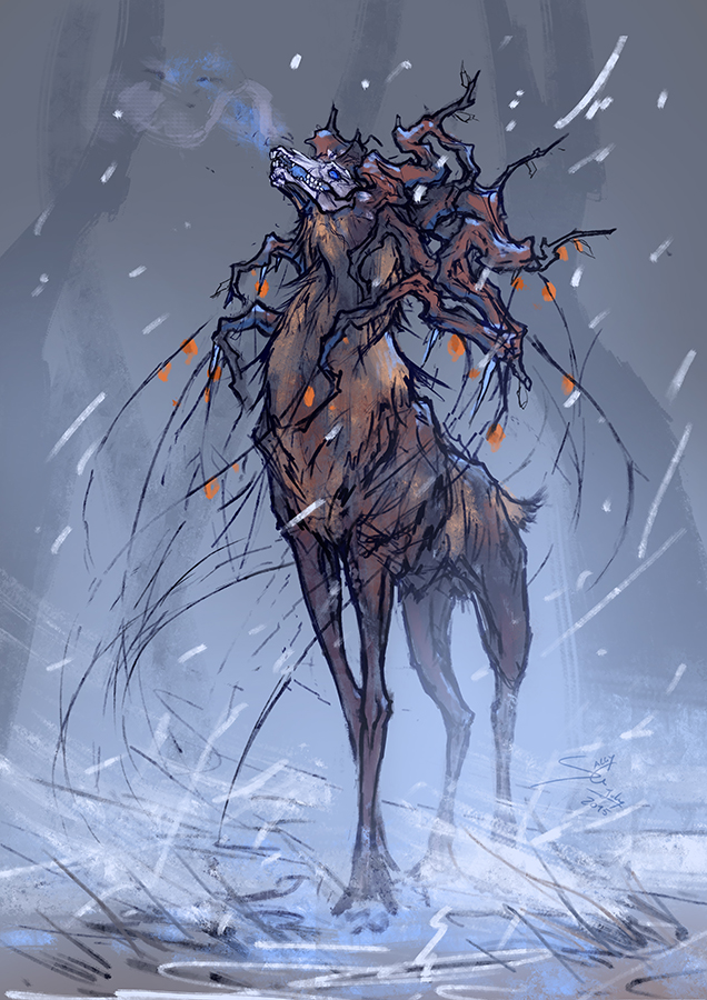 deer deity forest winter frozen sally gottschalk illustration