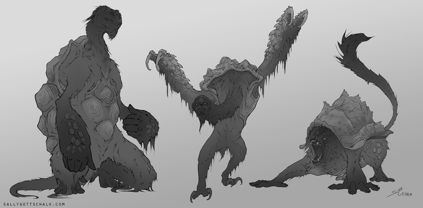 creature concept art sally gottschalk monkey ape tortoise sloth