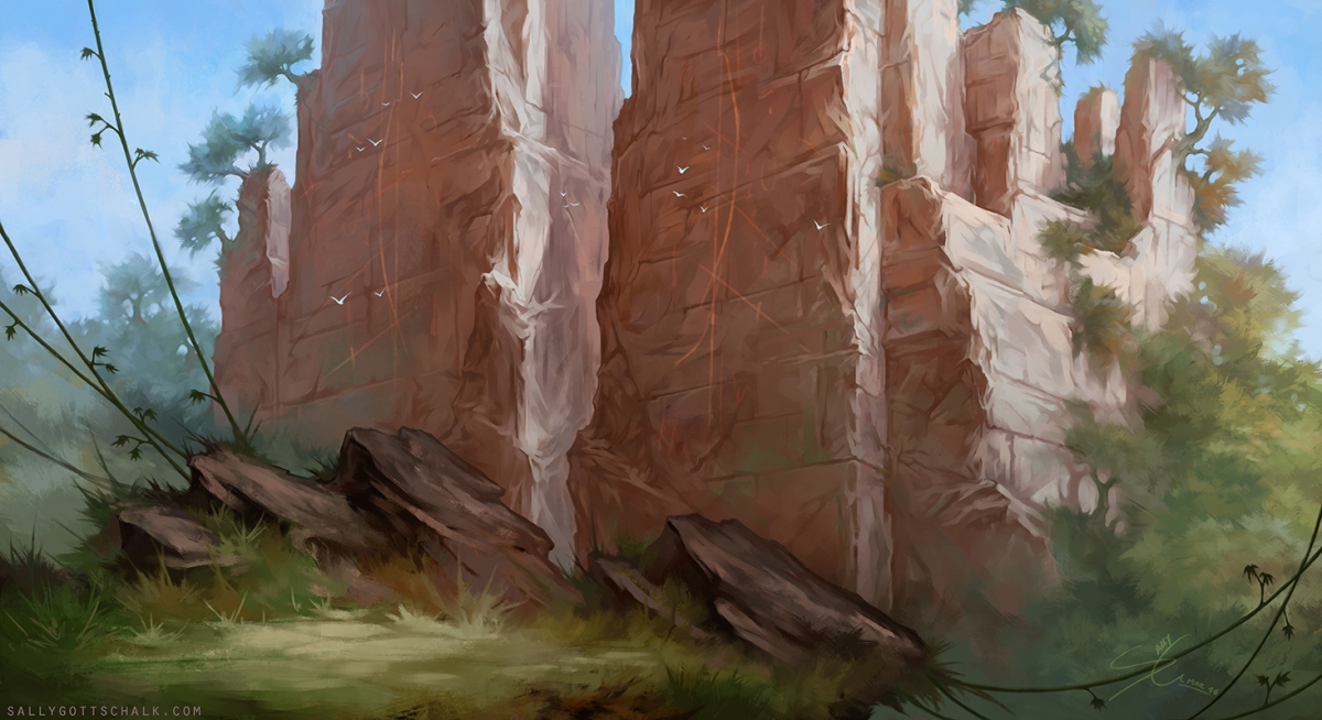 landscape illustration sally gottschalk nigreda jungle cliff rock