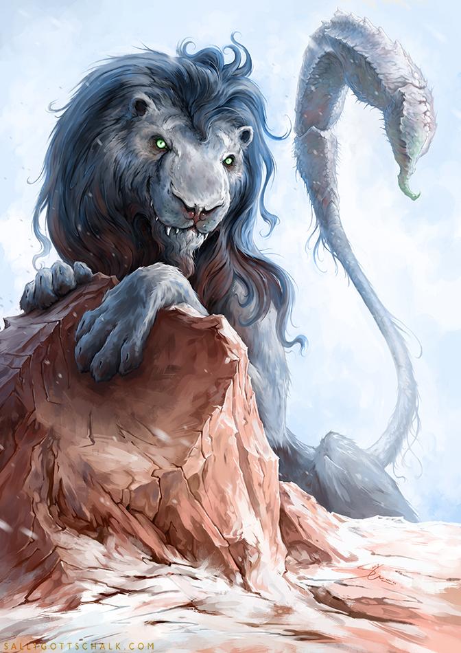 Lion Skorpion Manticore Sally Gottschalk Nigreda Fantasy Illustration