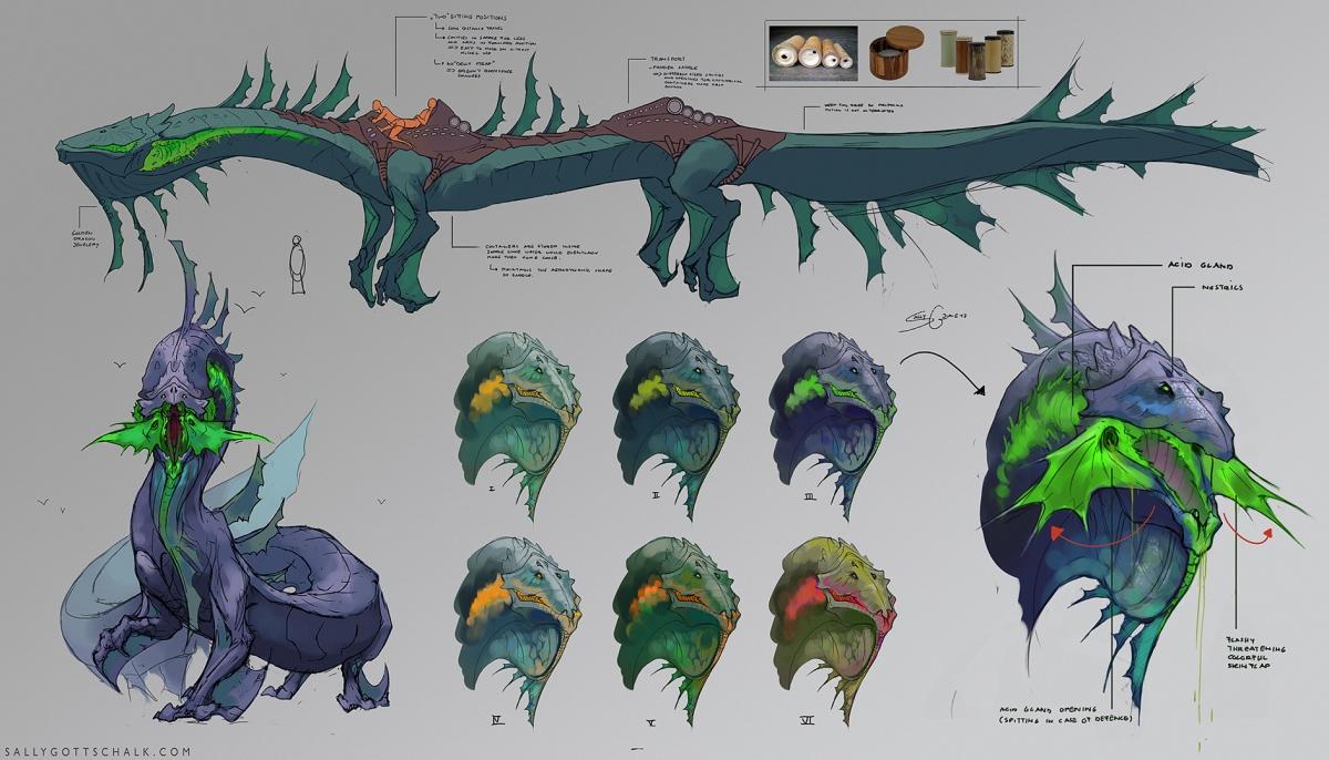 Dragon Design Concept Art Sally Gottschalk Nigreda