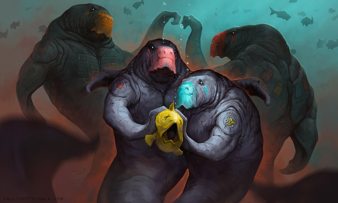 Pacman Dugong Game Illustration Fantasy SallyGottschalk