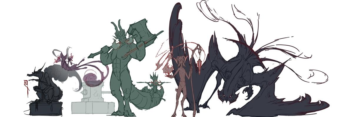 lineup character design sketches artstation challenge